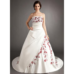 Strapless General Plus - A-Line/Princess Satin Wedding Dresses