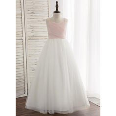 A-Line/Princess Floor-length Flower Girl Dress - Chiffon/Tulle/Lace Sleeveless Straps With Pleated (010148817)