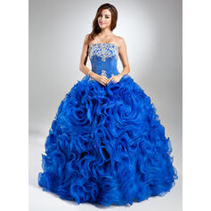 Ball-Gown Floor-Length Prom Dresses Strapless Organza Sleeveless (018112904)