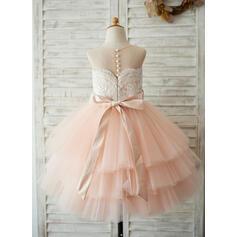 Vestidos princesa/ Formato A Coquetel Vestidos de Menina das Flores - Cetim/Tule/Renda Sem magas Decote redondo com Cintos/Beading (Faixa destacável) (010131714)
