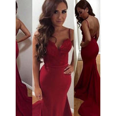 Trumpet/Mermaid Court Train Prom Dresses Sweetheart Jersey Sleeveless