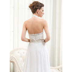 halter top wedding dresses with pockets