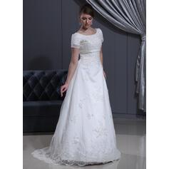Forme Princesse Col rond Balayage/Pinceau train Organza Robe de mariée avec Brodé Motifs appliqués Dentelle
