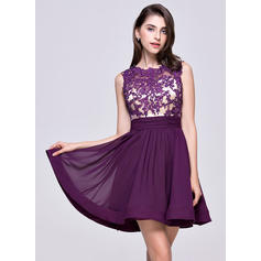 A-Line/Princess Scoop Neck Short/Mini Chiffon Homecoming Dresses With Ruffle Beading Appliques Lace Sequins (022214054)