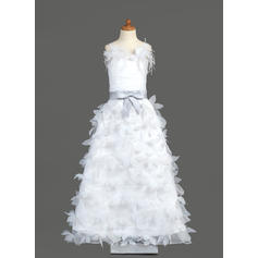 Organza/Charmeuse A-Line/Princess Sash/Feather/Flower(s)/Bow(s) Flower Girl Dresses