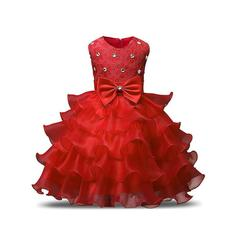 Ball Gown Scoop Neck Tea-length With Ruffles/Sash/Beading/Bow(s) Organza Flower Girl Dresses