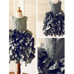 Ball Gown Scoop Neck Tea-length With Ruffles Taffeta Flower Girl Dresses