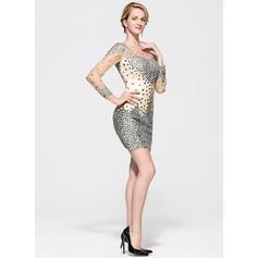Cuentas Vestido tubo Escote redondo Satén Tul Baile de promoción (016075636)