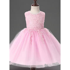 A-Line/Princess Scoop Neck Floor-length Tulle Christening Gowns With Lace (2001218015)