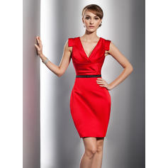 Sheath/Column Glamorous Satin General Plus Cocktail Dresses (016014731)