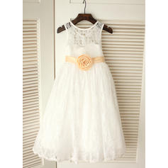 Fashion Tea-length A-Line/Princess Flower Girl Dresses Scoop Neck Sleeveless