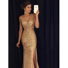 Sheath/Column V-neck Floor-Length Evening Dresses With Split Front (017145383)