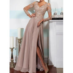 Elegant Chiffon Evening Dresses A-Line/Princess Floor-Length V-neck Long Sleeves (017144640)