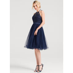 A-Line/Princess Halter Knee-Length Tulle Cocktail Dress With Sequins (016150199)