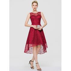 A-Line Scoop Neck Asymmetrical Lace Cocktail Dress (016189326)