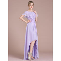 A-formet Off-the-Shoulder Asymmetrisk Chiffong Brudepikekjole (007104702)