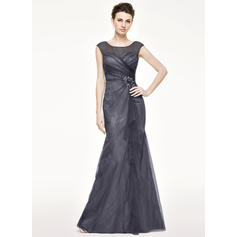 Trumpet/Mermaid Tulle Lace Sleeveless Scoop Neck Floor-Length Zipper Up Mother of the Bride Dresses
