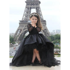 Simple Scoop Neck A-Line/Princess Flower Girl Dresses Asymmetrical Tulle Long Sleeves (010210943)