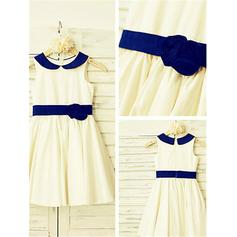 Sexy Tea-length A-Line/Princess Flower Girl Dresses Peter Pan Collar Taffeta Sleeveless
