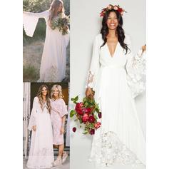 Long Sleeves Deep V Neck - Luxurious Chiffon Wedding Dresses (002213548)