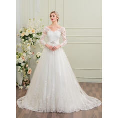 Ball-Gown V-neck Court Train Tulle Wedding Dress With Beading Sequins (002095822)