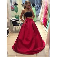 A-Line/Princess Satin Prom Dresses Strapless Sleeveless Floor-Length (018210377)