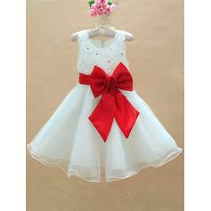 Scoop Neck A-Line/Princess Flower Girl Dresses Tulle Bow(s) Sleeveless Knee-length (010211967)