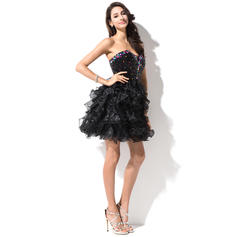 Mais Novo Organza de Lantejoulas Sem magas Amada Beading Vestidos de boas vindas (022214001)