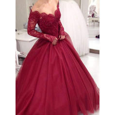 Tulle Long Sleeves Ball-Gown Prom Dresses V-neck Lace Floor-Length