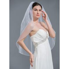 Ellenbogen Braut Schleier Tüll Einschichtig Ovale mit Perlenbesetzter Saum Brautschleier