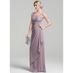 Tubo Decote redondo Longos Tecido de seda Vestido para a mãe da noiva com Pregueado Babados em cascata (008091937)