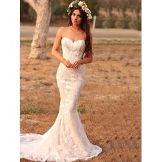 Appliques Sleeveless Trumpet/Mermaid - Lace Wedding Dresses