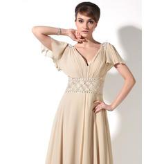 Glamuroso Escote en V Corte A/Princesa Gasa Vestidos de madrina (008211220)