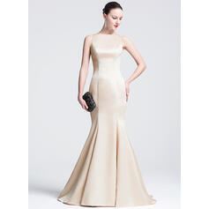 Trumpet/Mermaid Scoop Neck Court Train Satin Evening Dress (017074934)