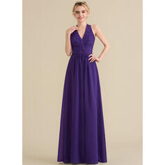 A-Line/Princess Halter Floor-Length Chiffon Lace Bridesmaid Dress With Bow(s) (007144773)