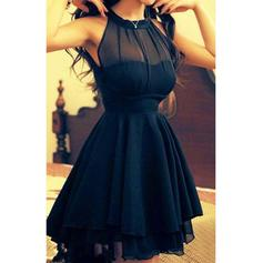 Sexy Chiffon Homecoming Dresses A-Line/Princess Short/Mini Scoop Neck Sleeveless (022212255)
