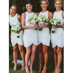 Chiffon Sleeveless Sheath/Column Bridesmaid Dresses Scoop Neck Ruffle Short/Mini