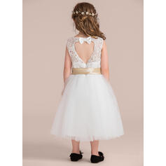 Forme Princesse Longueur genou Robes à Fleurs pour Filles - Satiné/Tulle/Dentelle Sans manches Col rond avec Trou noir (Bande détachable)