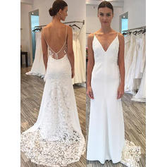Fashion Sweep Train Sheath/Column Wedding Dresses Deep V Neck Satin Lace Sleeveless