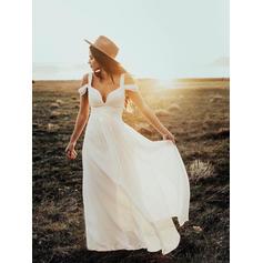 A-linjeformat Chiffong Ärmlös Off Shoulder- Golvlång Bröllopsklänningar