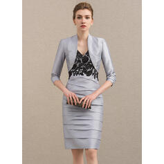 Sheath/Column V-neck Knee-Length Taffeta Mother of the Bride Dress With Lace