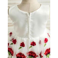 Vestidos princesa/ Formato A Coquetel Vestidos de Menina das Flores - Cetim/Tule Sem magas Decote redondo com Apliques de Renda (010117532)