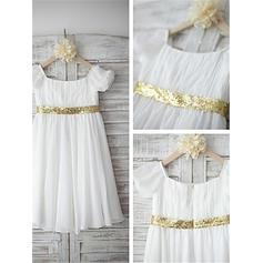 Sexy Tea-length A-Line/Princess Flower Girl Dresses Scoop Neck Chiffon/Sequined Short Sleeves