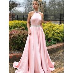 Satin Sleeveless A-Line/Princess Prom Dresses High Neck Beading Sweep Train