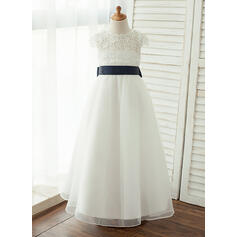 Floor-length Flower Girl Dress - Taffeta/Organza/Lace Sleeveless Scoop Neck With Sash/V Back (010122578)
