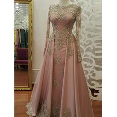 A-Line/Princess Scoop Neck Tulle Long Sleeves Floor-Length Appliques Lace Evening Dresses
