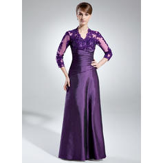 A-Line/Princess V-neck Taffeta 3/4 Sleeves Floor-Length Ruffle Lace Beading Sequins Mother of the Bride Dresses