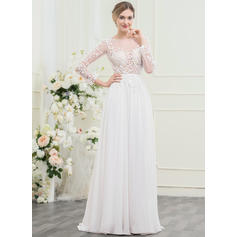 A-Line/Princess Scoop Neck Sweep Train Chiffon Lace Wedding Dress With Beading Sequins Bow(s) (002095827)