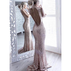 Newest Sequined Evening Dresses Trumpet/Mermaid Sweep Train Scoop Neck Sleeveless