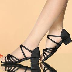 Donna Latino Sandalo Raso Similpelle con Fibbia Cava-out Scarpe da ballo